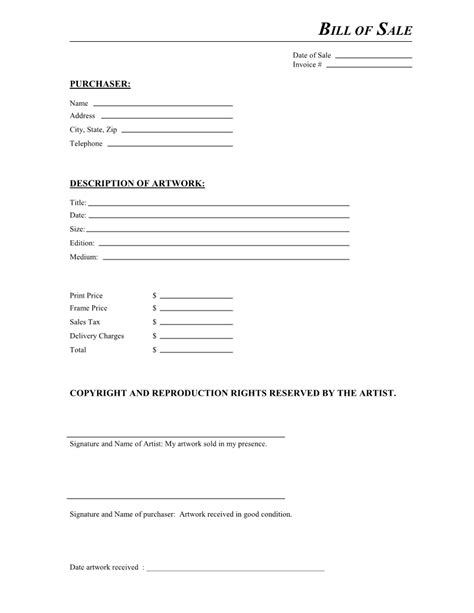 artwork bill  sale form  docx