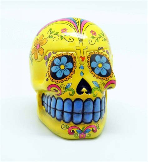 Yellow Day of the Dead Sugar Skull Trinket Box Mexican Dia