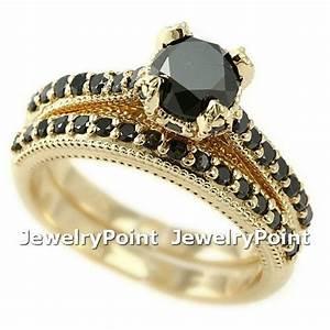 195ct matching black diamond engagement ring wedding With black gold diamond wedding ring