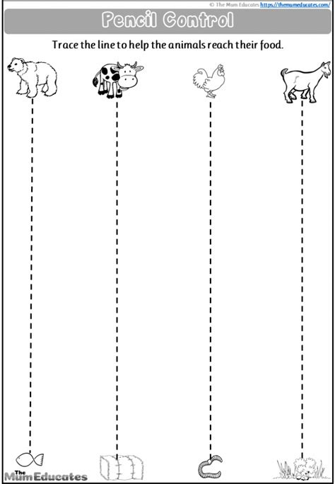 nursery pencil control worksheets  printable