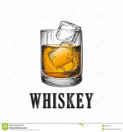 Whisky Whiskey Illustrazione Glass Getrokken Vectorillustratie Drank