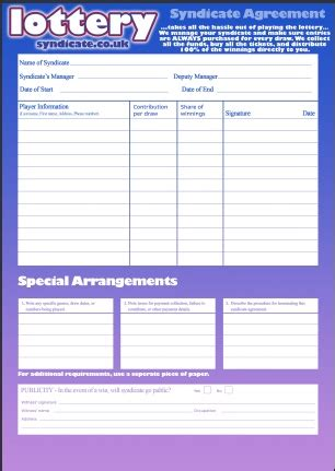 Euromillions Syndicate Agreement Template Lottery