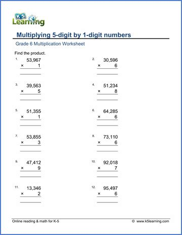 grade 6 math worksheets multiplication in columns 5 by 1 digits k5 learning