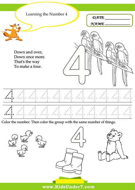 free printable number 4 worksheets best photos of