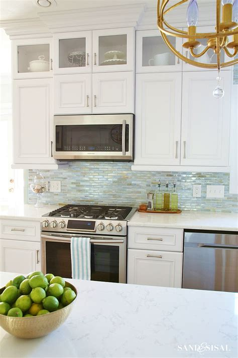 backsplash glass tile sea glass tile backsplash tile design ideas