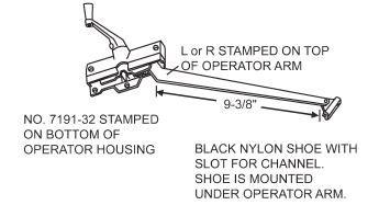andersen casement window operators crank hardware   single arm bottom mounted shoe sill
