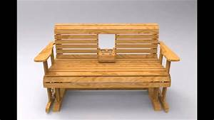 Furniture: White Oak Glider Bench With Cup Holder For