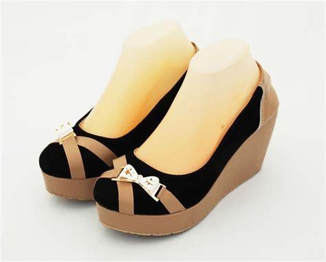 lmgm15 sepatu wedges hitam 9 cm sepatu wedges ribbon fashionable warna hitam heels 8 cm