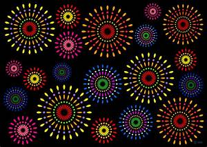 打ち上げ花火模様の壁紙の無料イラスト素材|iiイラストイメージ