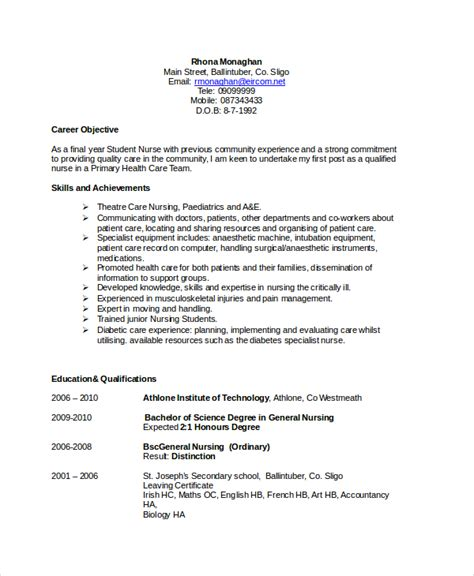 Professional Objective For A Nursing Resume by 18 Sle Resume Objectives Free Sle Exle