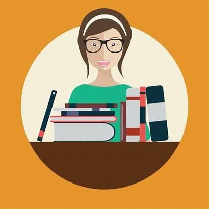Librarian Vector Books Illustration Woman Flat Illustrations