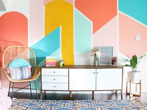 Update Rooms Easy Color Accents by Easy Living Room Update Geometric Accent Wall Trend
