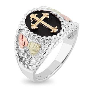 mens black hills gold cross ring  sterling silver