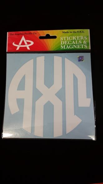 alpha chi omega sorority monogram car decal brothers  sisters greek store