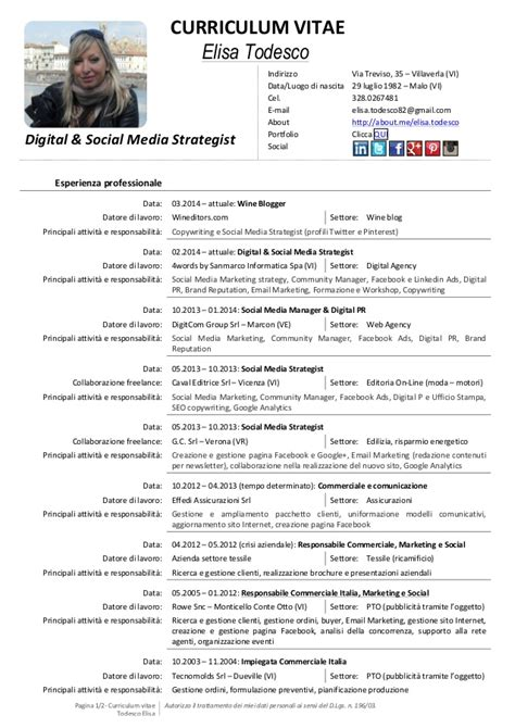 cv digital social media strategist