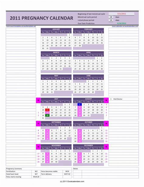 pregnancy calendar excel templates