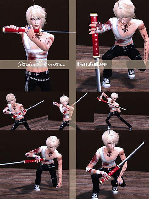 studio  creation katana sword poses set sims  downloads
