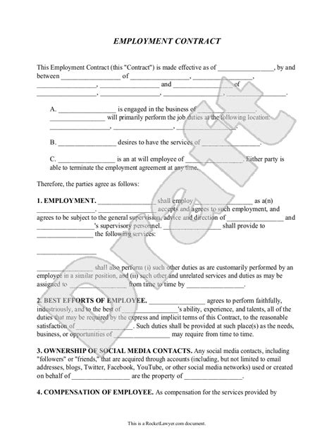 Free Employment Contract | Free to Print, Save & Download