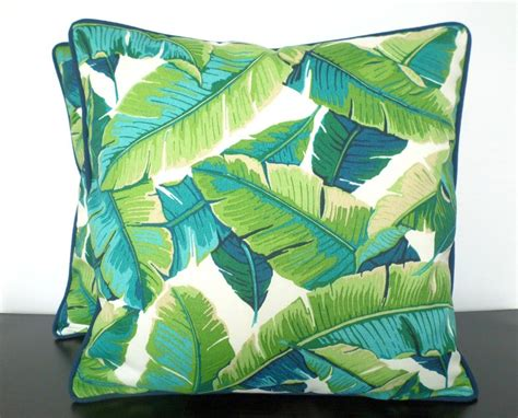 tropical outdoor pillows tropical palm leaf pillow cover 18x18 in indoor outdoor fabric