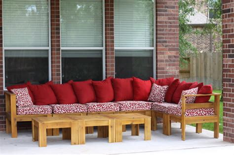 ana white simple modern outdoor sectional  ottomans