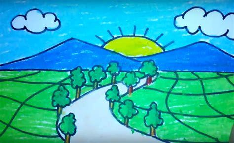 lukisan pemandangan anak tk