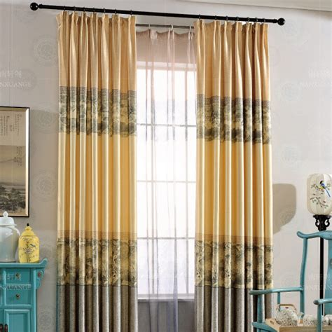 color block curtains yellow and gray patterned linen cotton blend print vintage