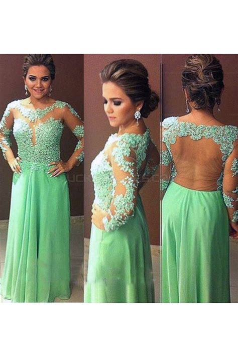 Long Sleeves Lace Appliques and Chiffon Prom Evening Party ...
