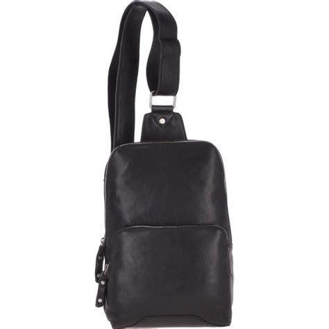 unisex medium luxury leather sling bag black slingo