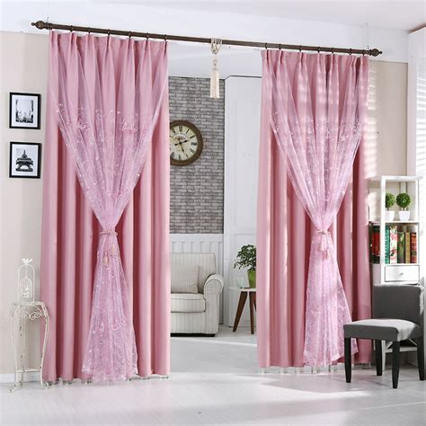 Delicate Pink Color Blackout Polyester Living Room Curtains