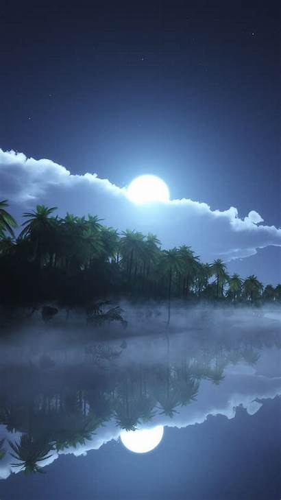 Moon Night River 4k Sea Clouds Wallpapers