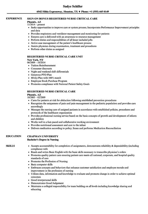 Registered Duties Resume by Registered Critical Care Resume Sles Velvet