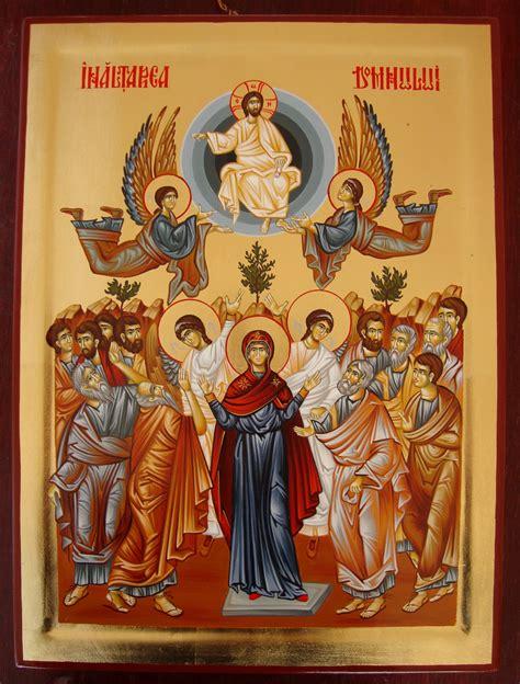 Inaltarea Domnuluim.crestinortodox.ro › inaltarea…In vreme ce Inaltarea Domnului a avut martori, ea a fost o despartire izvoritoare de lumina, deoarece ucenicii s-au... Inaltarea Domnului - deplina indumnezeire a firii umane asumate. Inaltarea lui Hristos intru slava si sederea Sa de-a dreapta Tatalui este chipul deplinei indumnezeiri a umanitatii Lui. Prin toate actele Sale, intrupare, moarte, inviere El a indumnezeit... Read moreIn vreme ce Inaltarea Domnului a avut martori, ea a fost o despartire izvoritoare de lumina, deoarece ucenicii s-au intors in Ierusalim