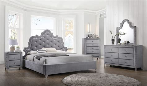 meridian sophie bedroom set  gray velvet bedroom set