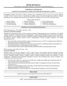 accounting controller resume exles exle corporate controller resume free sle