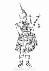 Scottish Colouring Piper Pages Burns Coloring Night Boy Children Bag Scotland Crafts Wee Activities Activityvillage St Kilt Craft Traditional Pipes sketch template