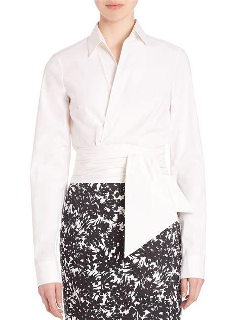 michael kors blouse michael kors sleeve wrap blouse in white lyst