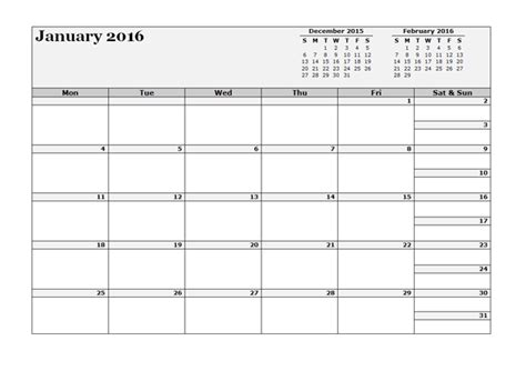 monthly calendar template  printable