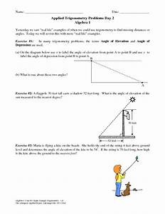 Applied Trigonometry Problems Day 2 Worksheet For 9th