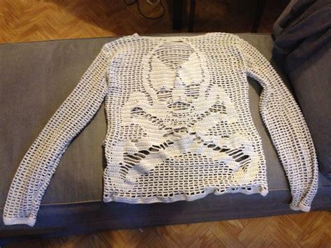 Chunky Boyfriend Wool Knit Slouchy Patch Elbow Halloween Skull Cardigan