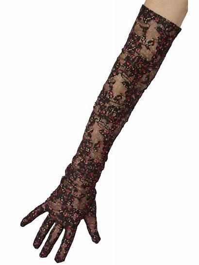 Gloves Lace Pattern Floral Dents Sheer Lovely