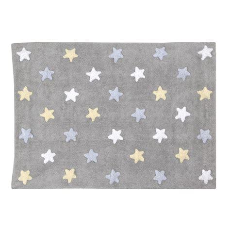 tapis bebe gris en coton lavable etoiles tricolores bleu