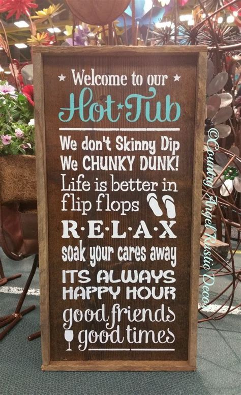 hot tub rustic wood sign