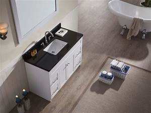 Ariel hamlet 49quot single sink vanity set with absolute for White bathroom vanity with black countertop