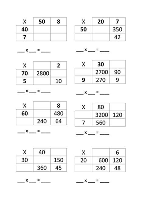 multiplication worksheets using grid method missing value 2 digit grid method multiplication by