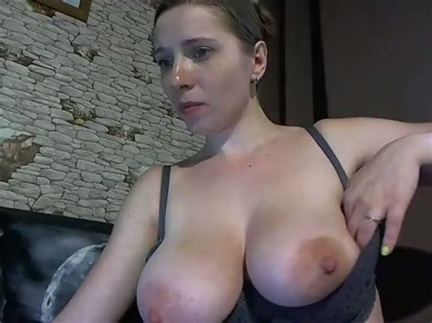 Dark Haired Russian Teen Plays With Her Super Big Boobs On
