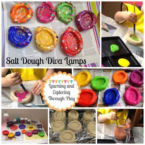 salt dough diva lamps  images diwali activities