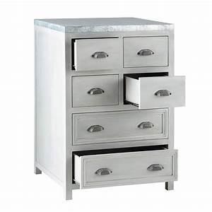 Meuble De Cuisine Bas : meuble bas de cuisine en bois d 39 acacia gris l 60 cm zinc ~ Melissatoandfro.com Idées de Décoration