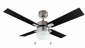 San Antonio Black Brushed Chrome Effect Ceiling Fan Light