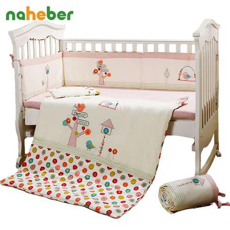 aliexpress com buy 7pcs pink baby crib bedding set for