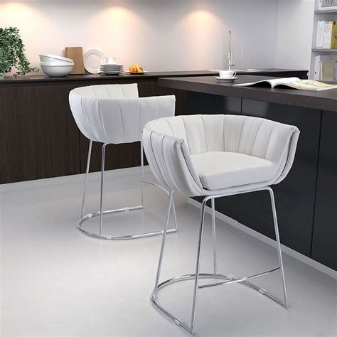 Modern Counter Stools   Leandra White Stool   Eurway